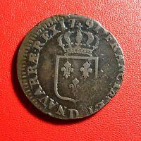 #1573 - RARE - Louis XVI Sol 1791 D Lyon - FACTURE