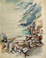Acquerello Paesaggio Costiero Vernazza Liguria Cinque Terre Sestre Levante
