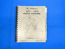 Williams Distributors Parts Manual Original 1977 1978 Pinball Shuffle