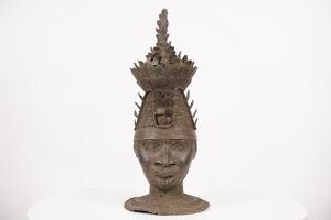 """Regal Benin Bronze Head 17.5"""" - Nigeria - African Art"""