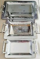 Stainless Steel Tea / Coffee Tray Silver Serving Tray Set of 3 Tray platters