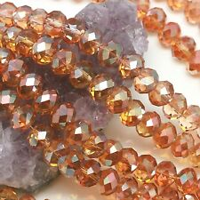 36 pcs 10mm Chinese Crystal Glass Beads Faceted Rondelle Dark Citrine Quartz AB