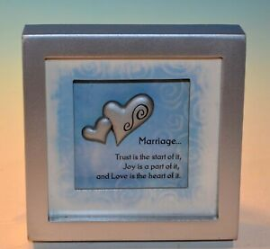 """Shadow Box-Marriage...Trust is the start of it, 3.5""""x3.5""""x.75"""" Silver pewter"""