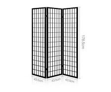 Room Divider Folding privacy Screen 3 Panel Living Bed Solid Wood Black NEW