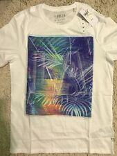 """GUESS Cotton Raised Letters """"la"""" White Crew Neck Tee T-shirt X Large XL"""