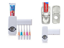 WALL MOUNTED TOOTHPASTE DISPENSER AUTOMATIC W/ 5 TOOTHBRUSH HOLDER SET BATHROOM