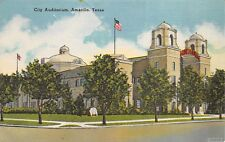 Amarillo Texas 1940s Linen Postcard City Auditorium