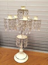 Antique Metal Chandelier  Style Candle Stick Holder Painted White Rare! Holds 6