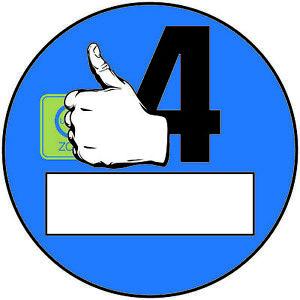 2x Euro 4 Plakette Blau Daumen Umweltplakette  Feinstaubplakette Spassplakette