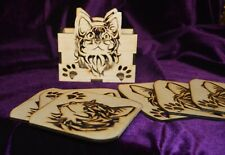 Wooden Cat Coasters and Holder