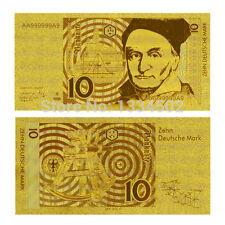 GERMANY 10 DM DEUTSHCHE MARK 1991 BANKNOTE GOLD REPLICA