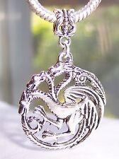 Oversize 3 Headed Dragon Pendant Dangle Bead for Silver European Charm Bracelets