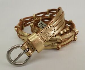 Fossil Braided Leather Belt Small 30 32 34 Gold BT4073710