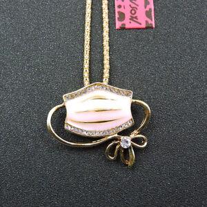 Pink Crystal Rhinestone Mouth Mask Shape Pendant Betsey Johnson Long Necklace
