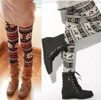 casual Knitted Elastic Snowflake Nordic Reindeer Pants Trousers Leggings