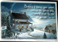 """The Blessing of Christmas 8""""x10"""" Blue Matted Print Christian Artwork Luke 2:10"""