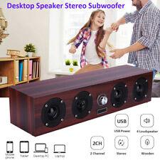 Wooden Portable Speaker Stereo PC TV System Desktop Speaker Sound Column