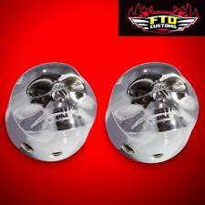 Chrome 3D Skull Front Axle Nut Covers for 08 and Up Harley Davidson Road Glide