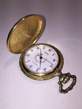 Free Ship Vtg Impex 17 Jewel Swiss made pocket watch in Gold-toned hunter case