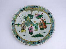 CHINE ancien plat en céramique émaillé polychrome Famille Verte Cina