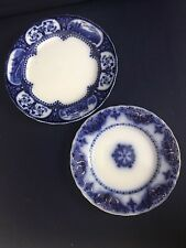 """FLOW BLUE 10"""" LEICESTER PLATE & 8"""" ALBANY PLATE SUPER COLORS"""