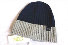 Womens BRAND NEW ! NEO by adidas NAVY GREY 2TONE Beanie Hat OSFW Adult ZZ