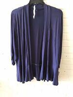 New NY Collection Woman's Peplum Hem Open Cardigan Sweater Blue 2X  L7