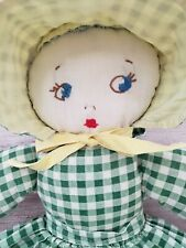 Vintage Cloth Rag Doll with Sunbonnet and Gingham Dress Apron