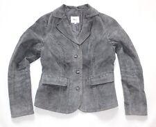 Women's Vintage MISS ETAM Grey 100% Genuine Leather Suede Coat Jacket Blazer S