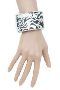 Women Fancy Jewelry Silver Metal Cuff Bracelet Bulky Black Fabric Filigree Sexy