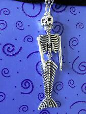 """DAY of the DEAD Goth 3"""" Dancing Mermaid Skeleton 14-16"""" Black Velvet Choker"""