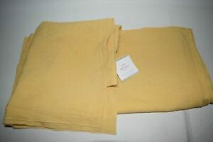"NEW Pottery Barn Belgian Flax Linen Flange Pillow Cover 18"" Square Golden Yellow"