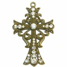 P2672L2 Rhinestone Crystal Antiqued Bronze 89mm Fleu-De-Lis Cross Pendant