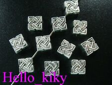 100 Pcs Tibetan silver lucky knot square spacers A867
