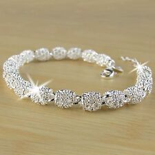 Fashion Women Hollow Out Beads Link Chain Bracelet Genuine 925 Silver Jewelry