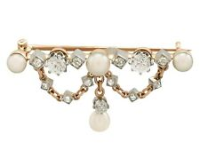 Antique Victorian Diamond and Pearl 18k Yellow Gold Brooch Circa 1880