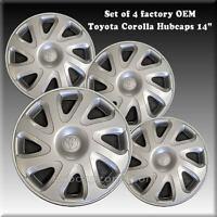 "Set 4 Toyota Corolla Hubcaps Wheel Covers 14"" 2000-2002 Factory OEM #42621-AB030"