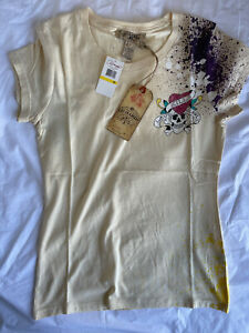 New Ed Hardy Women's short sleeve Love Kills Slowly Beige T-shirt Size: M - XL