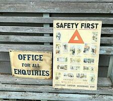 Safety First poster printed on hardboard WILLS's Cigarettes Gold Flake Capstan