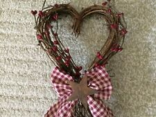 """New Twig Heart Shaped Wreath 6""""W x 21""""L Door Decor Wall Red Farmhouse Country"""