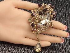 Wedding dress Bridal Bouquet brown crystal Charm pendant brooch Birthday F95