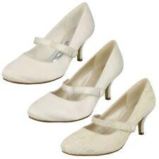 "Ladies Anne Michelle 2"" Heeled Wedding / Party Shoe Ivory Satin 5 UK Standard"