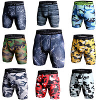 Mens Compression Shorts Training Sport Gym Active Bottoms Camo Quick dry Tights