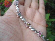 Natural Fancy Color TOURMALINE Sterling 925 Silver Flower BRACELET
