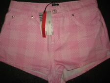 NWT river island pink with white pattern cotton short Shorts Size 10 was £35
