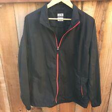 ⚫️ Adidas Mens Climaproof Packable Rain Jacket Black Red Zippered Medium *Flaw*