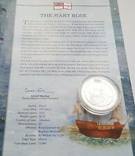 2003 Alderney The Mary Rose History Royal Navy £5 POUND Silver Proof Coin + COA