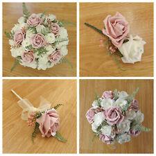 Artificial Wedding Flowers Light Pink Rose - Brides Bouquet - Buttonhole