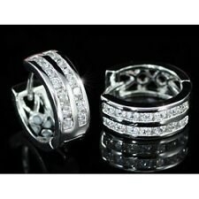 WHITE GOLD FINISHED HUGGIES DOUBLE ROW DG CREATED DIAMOND ROUND Ladies EARRINGS