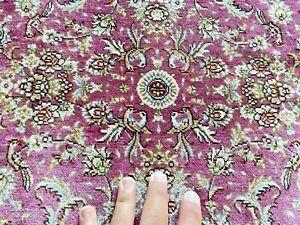 Auth: Vintage FINE Silk Turkish Rug  Signed Love Birds Botanical Pink Beauty  NR